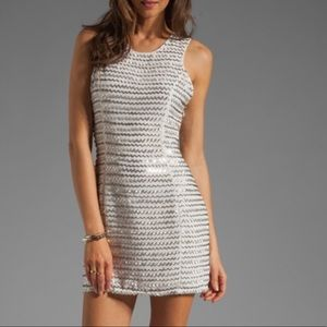 MWT Parker Ivy Metal Zig Zag Dress Silver Mini M